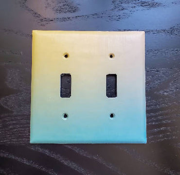 Fancy Handmade Light Switch Cover - Yellow Turquoise Fade