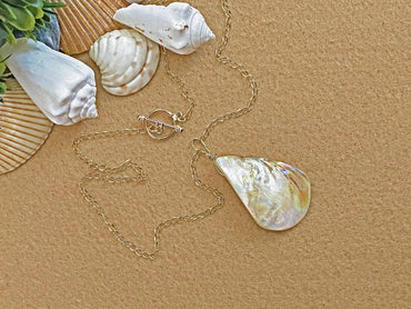 """Positivity, Prosperity & Insight"" White Teardrop Shell Necklace"
