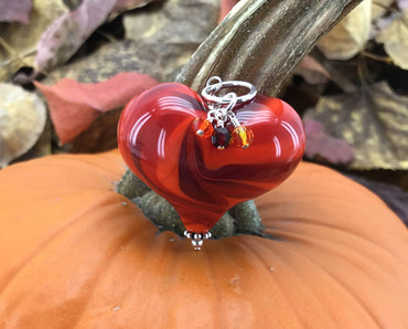 Handmade Lampwork Blown Glass and Sterling Silver Heart Pendant With Swarovski Crystals - H.2020.10.22.L