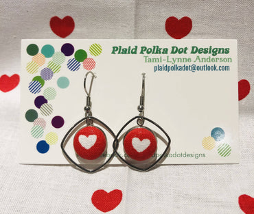 Red with White Hearts Valentine Earrings