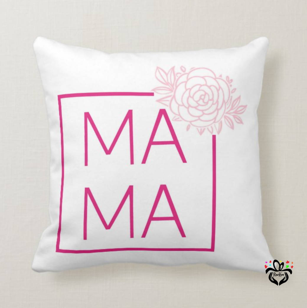 MAMA Square Floral Design Cushion Pillow, Birthday Gift, Mother's Day, Gift from Daughter, Son to Mother, Mom, Mama - RazKen