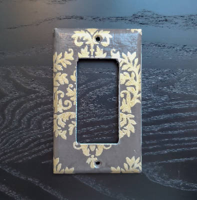 Fancy Handmade Light Switch Cover - Baroque Brown & Gold