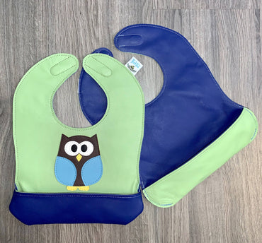 Toddler Green Owl Bib
