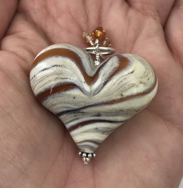 Handmade Lampwork Blown Glass and Sterling Silver Heart Pendant With Swarovski Crystals - H.2020.10.22.N