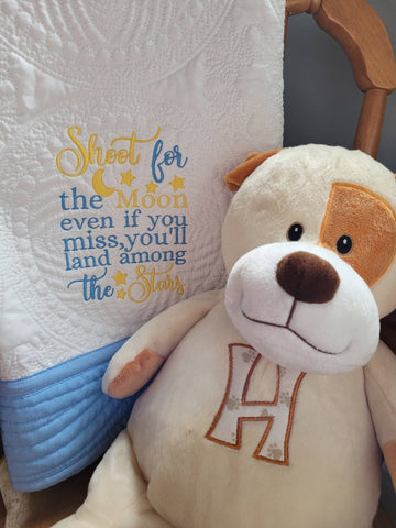 Personalized Heirloom baby quilt blanket, Shoot for the Moon, free shipping, Canada!