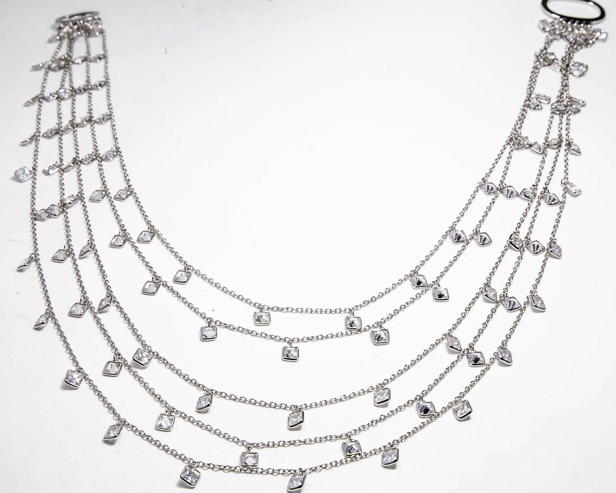 5 Strand Diamond Look Necklace