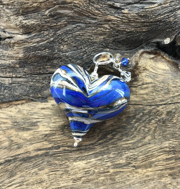 Handmade Lampwork Blown Glass and Sterling Silver Heart Pendant With Swarovski Crystals - H.2020.10.22.B