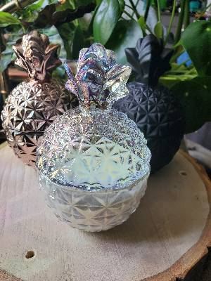 Clear rainbow pineapple shaped candle - watermelon scent