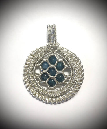 Blue apatite pendant, wire wrapped with Argentium silver .935