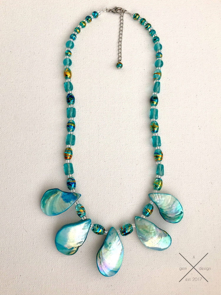 Teal shell necklace
