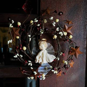 "6"" Cream & Cranberry Berry Angel Wreath"