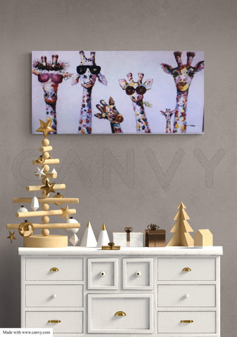 "Wall decor, Canvas print ""A family of giraffes"""