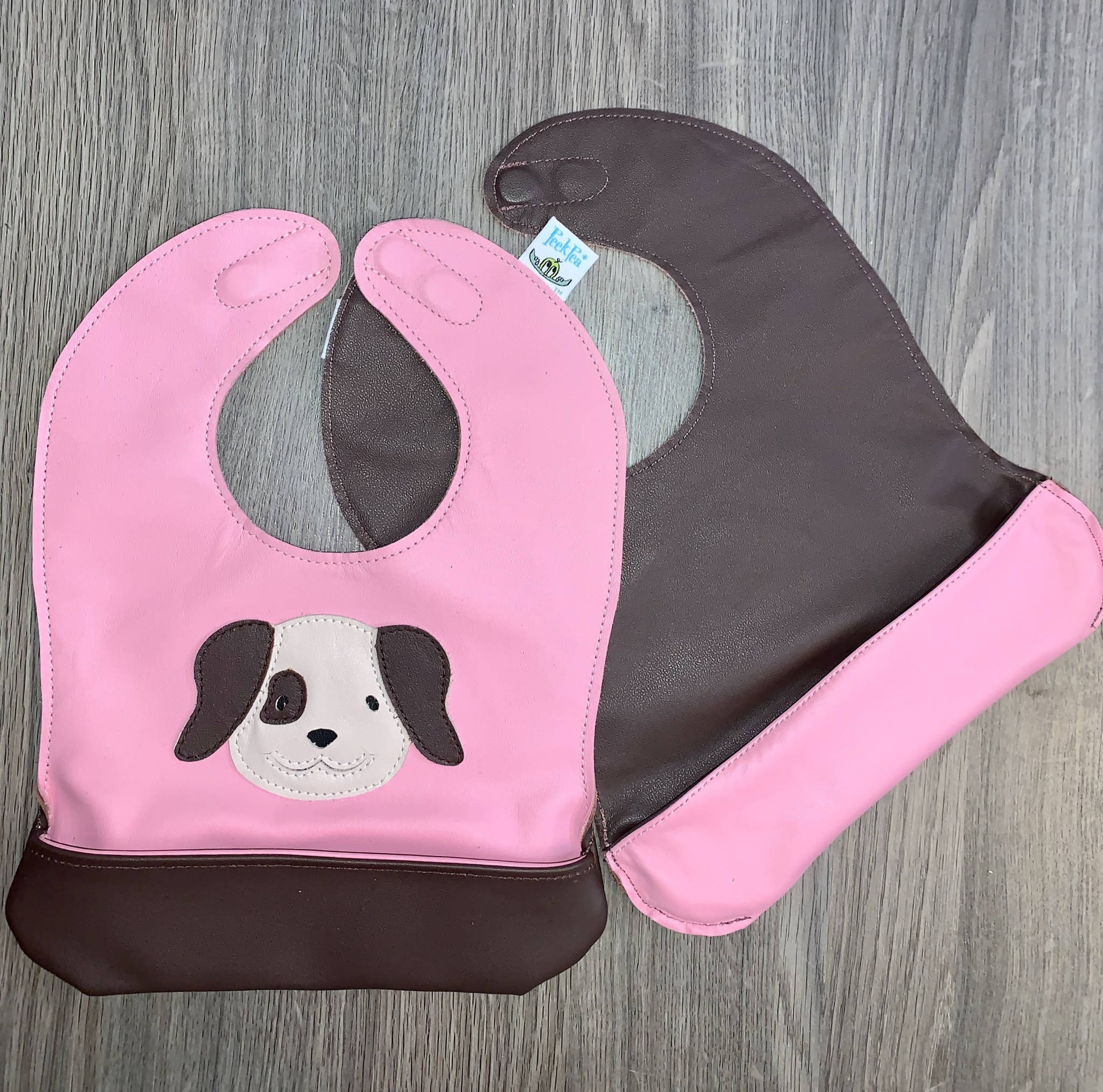 Toddler Pink Puppy Bib