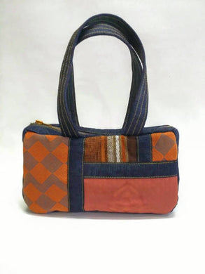 Patched Orange and Denim Handbag Handmade with Vintage Fabric