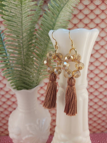 Beaded Circle Tassel Earrings