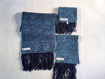 Handwoven matching scarves Teal and navy