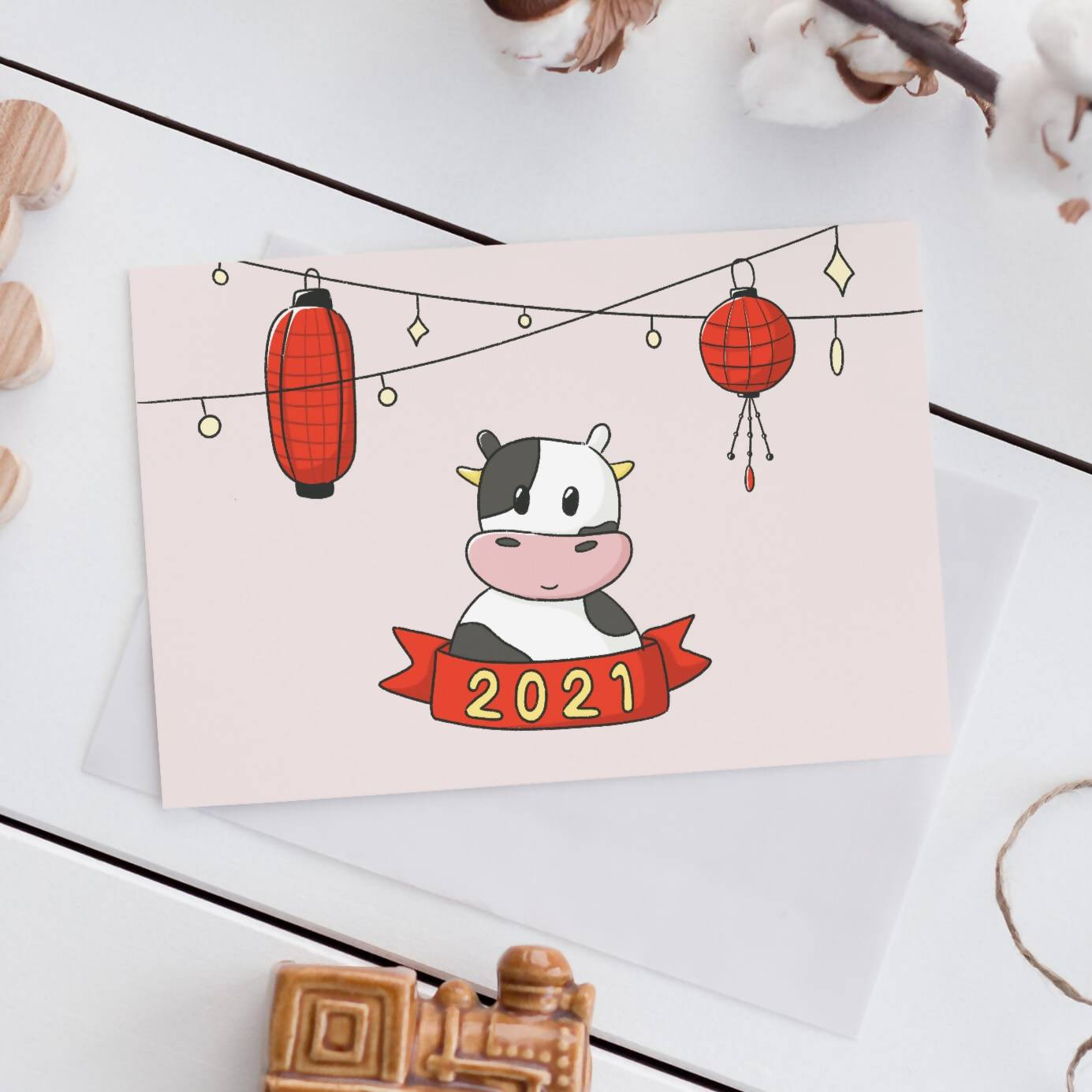 2021 Lunar new year Card, year of the ox (Single or Card Pack)