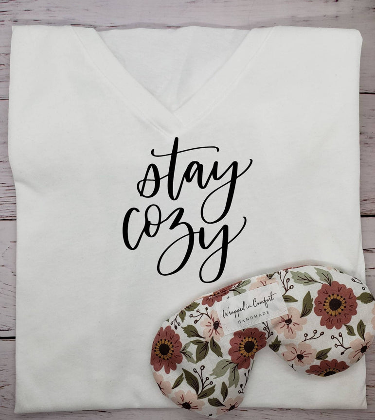 T-shirt and Eye Pillow Bundle, 'Stay Cozy'