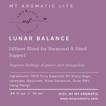 LUNAR BALANCE Diffuser Blend - Aroma Diffuser-Relaxation Gift-Pure Essential Oils-Natural Remedies for Women Hormone and Mood Support