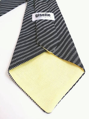 Necktie Handmade with Vintage Black and White Stripe