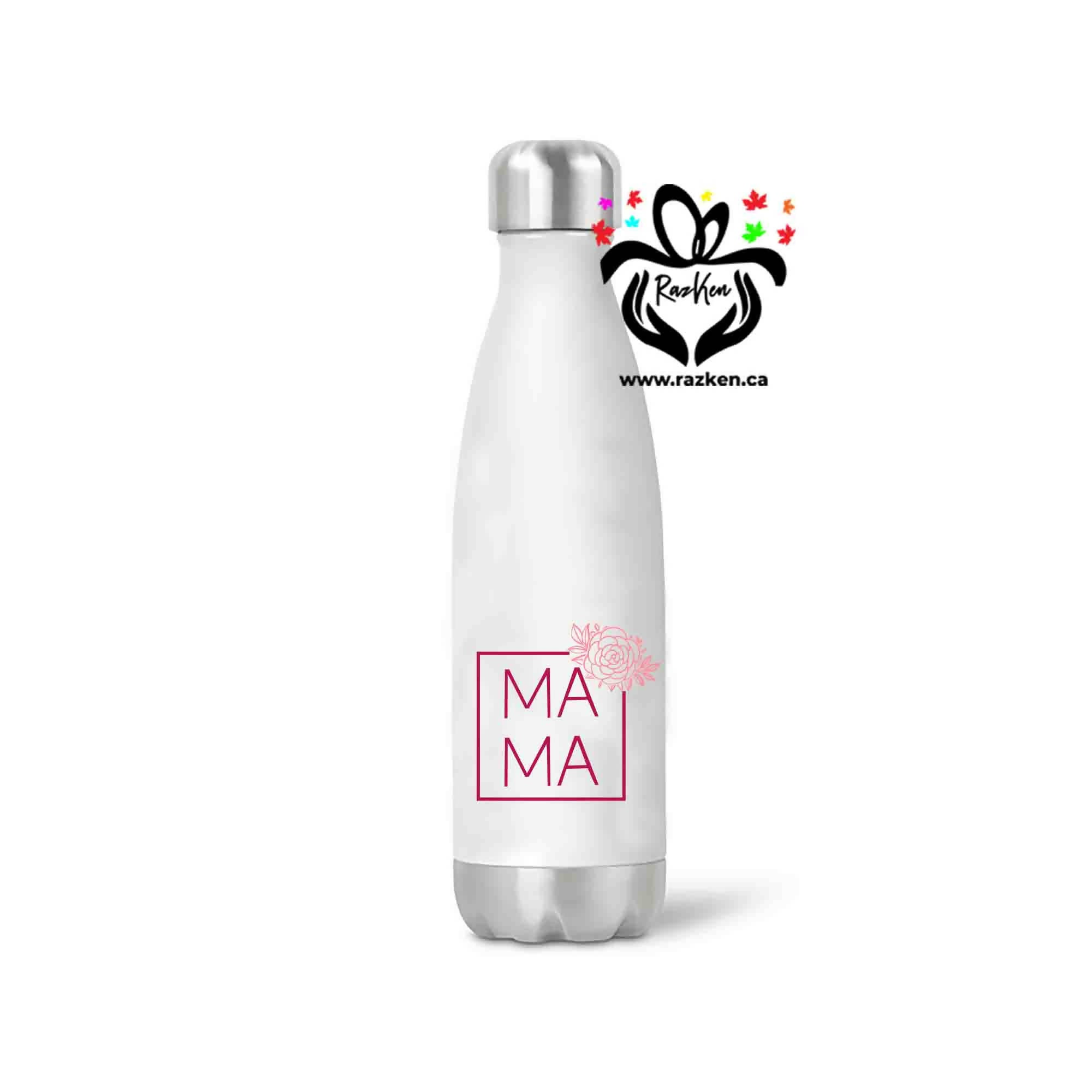 MAMA Square Floral Design Stainless Steel Water Bottle, Birthday Gift, Family Gift, Friend Water Bottle - RazKen