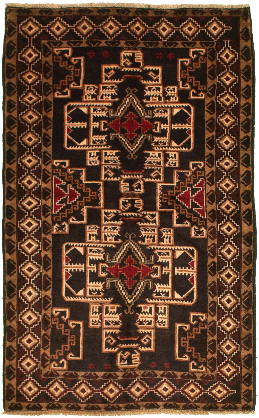 "TRIBAL. 3'8"" x 6'3""-[SKU]-Babylon-Rugs"