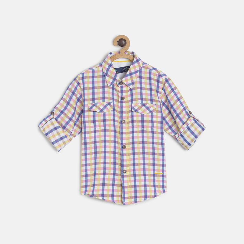 Boys Pink Checks Printed Cotton Shirt