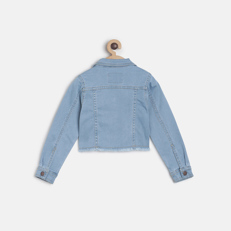 Girls Light Blue Crop Denim Casual Jacket