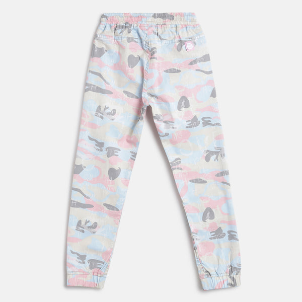 Girls Light Pink Regular Fit Printed Cotton Jogger
