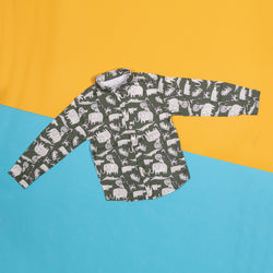 Boys Olive Regular Fit Animal's Print Casual Shirt