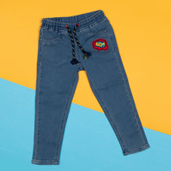 Boys Slim Fit Mid Blue Denim Joggers With Waistband