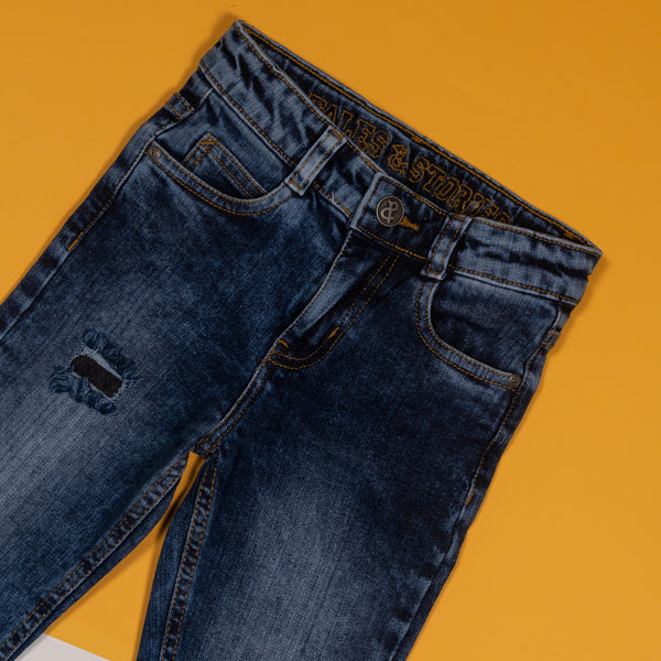 BOYS SLIM FIT MID BLUE DISTRESSED DENIM JEANS