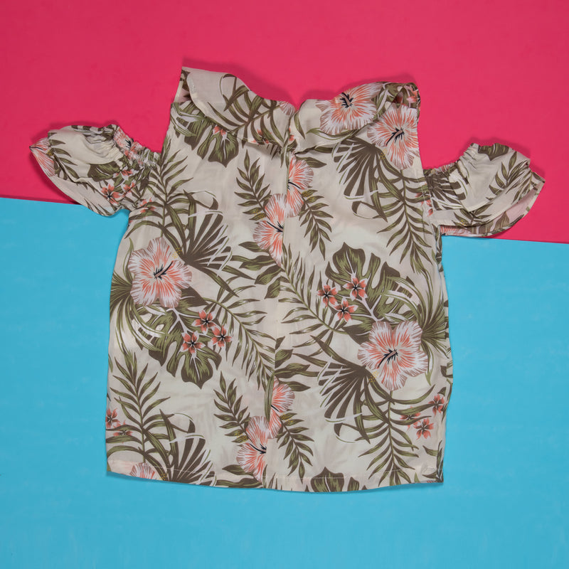 GIRLS MINT PRINTED ROUND NECK TOP