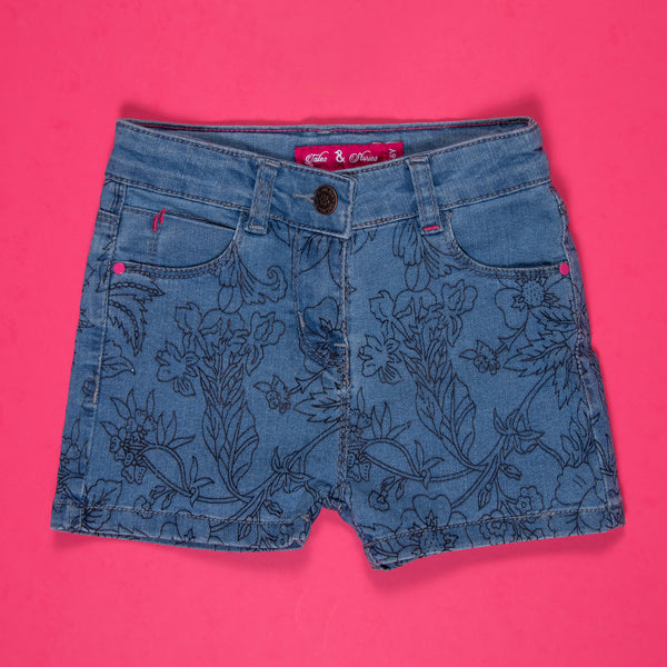 GIRLS MID BLUE PRINTED STRETCHABLE SLIM FIT SHORTS