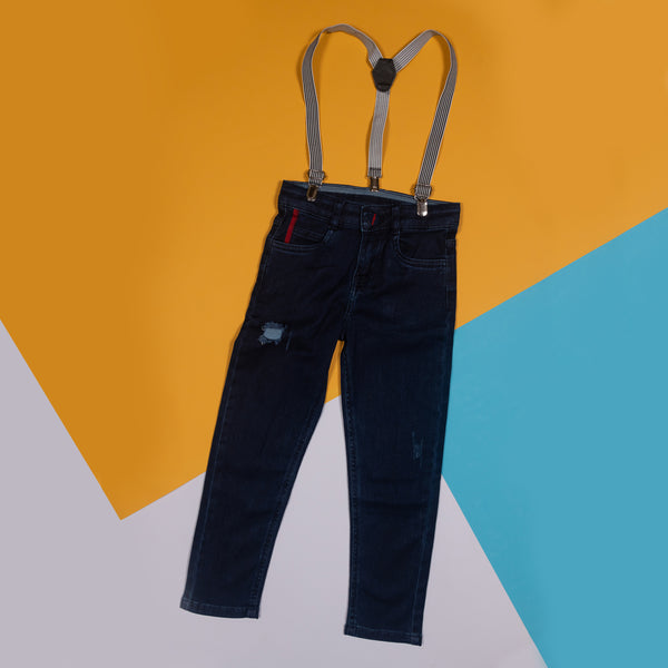 BOYS SLIM FIT DARK BLUE JEANS WITH SUSPENDERS