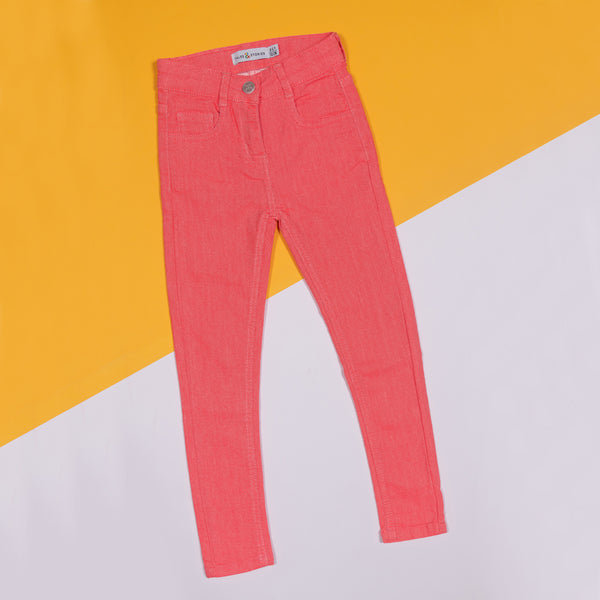 GIRLS SLIM FIT NEON PINK TROUSER