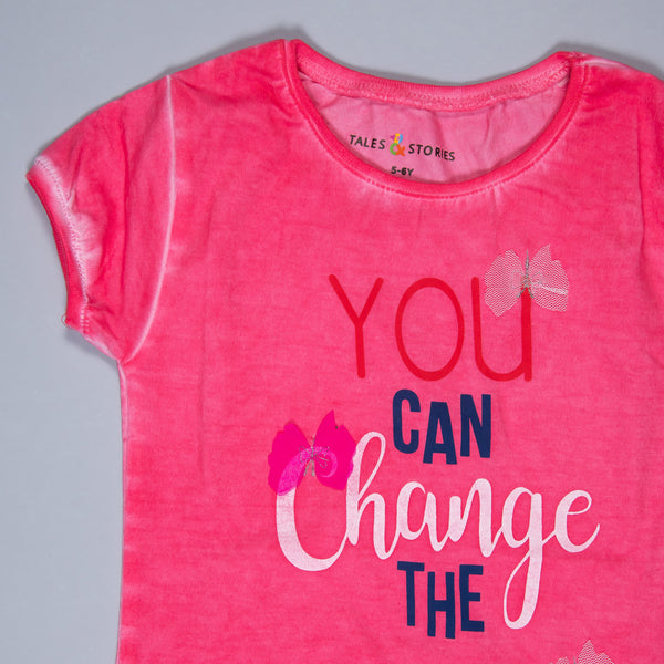 Girls Neon Pink Printed & Applique Stretchable Slim Fit T-Shirt