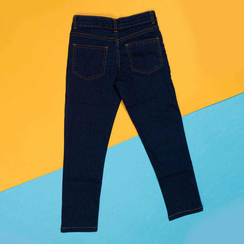 Boys Slim Fit Dark Blue Casual Denim Jeans