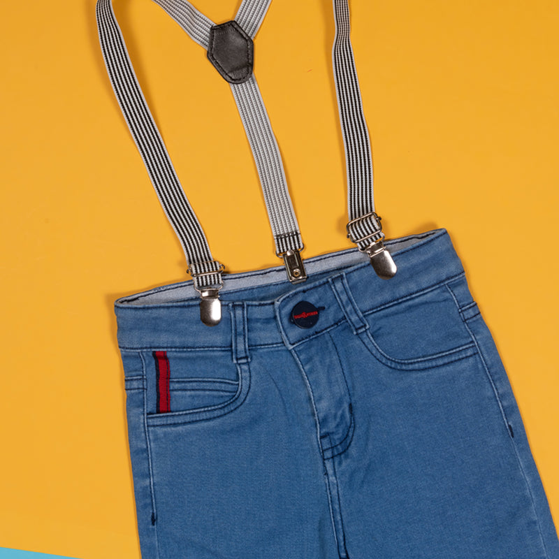 BOYS SLIM FIT MID BLUE JEANS WITH SUSPENDERS