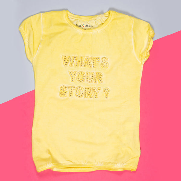 Girls Yellow Applique Stretchable Slim Fit T-Shirt