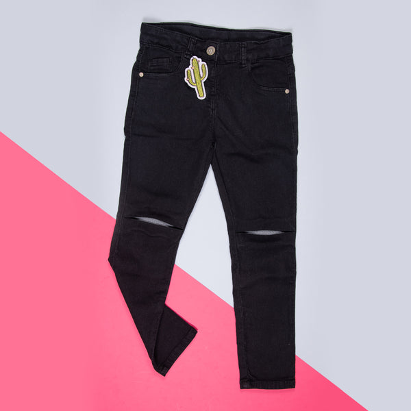 GIRLS BLACK OVER DYED STRETCHABLE SLIM FIT TROUSER
