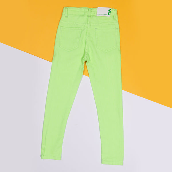 GIRLS SLIM FIT NEON GREEN TROUSER