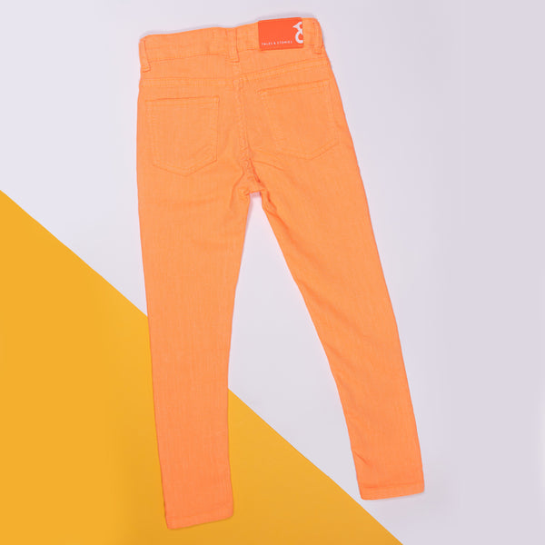 GIRLS SLIM FIT PASTEL ORANGE TROUSER