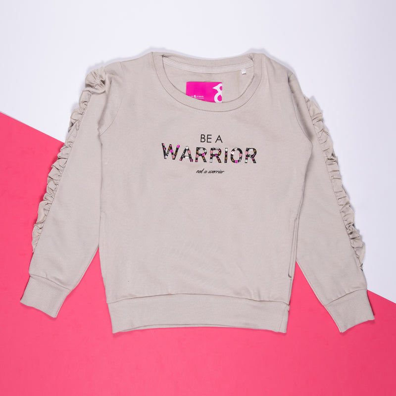 GIRLS LIGHT GREY PRINTED COTTON REGULAR SWEATSHIRT