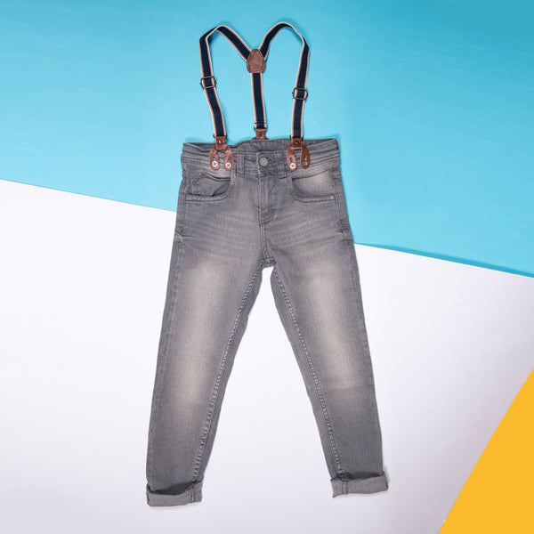 BOYS GREY REGULAR FIT JEANS WITH SUSPENDERS