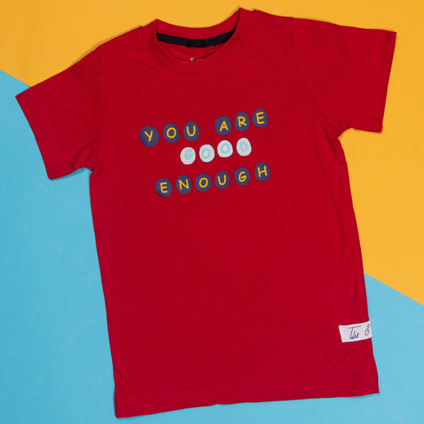 BOYS REGULAR FIT RED T-SHIRT WITH TYPOGRAPHY