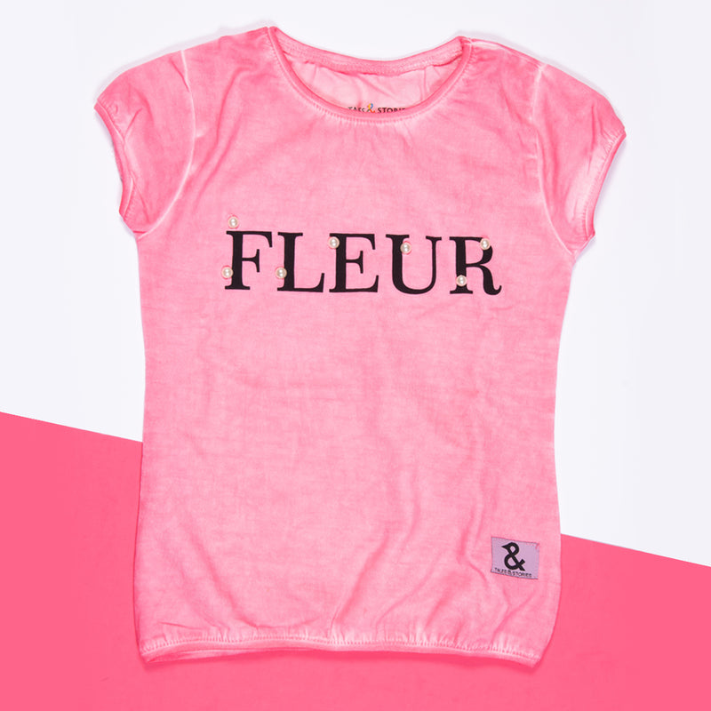 Girls Baby Pink Printed Stretchable Slim Fit T-Shirt