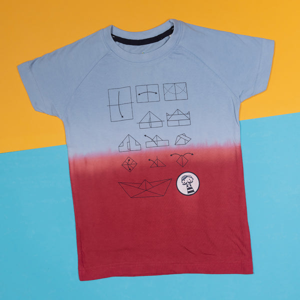 BOYS REGULAR FIT RED & BLUE OMBRE T-SHIRT