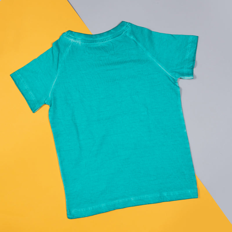 Boys Regular Fit Turquoise Printed T-shirt