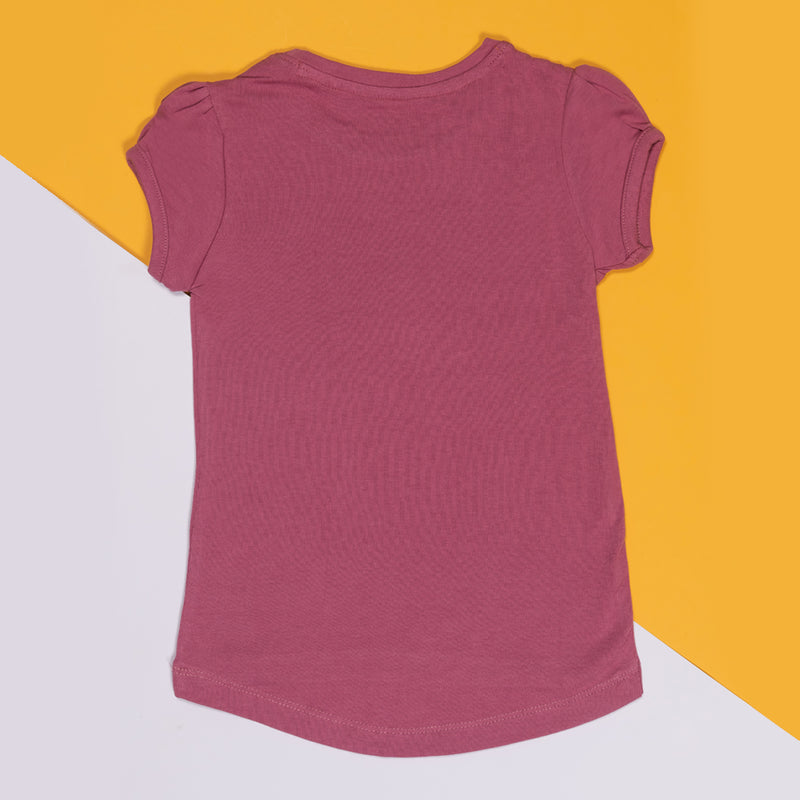 GIRLS REGULAR FIT MAUVE T-SHIRT WITH TYPOGRAPHY